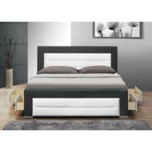 Luxus modern ágy lécezett ráccsal + 4 fiók, fekete + fehér ekobőr,     160x200, NAZUKA