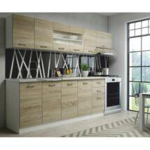 Modern alap konyha fantasztikus áron, sonoma tölgyfa, váz: fehér -     PROMO