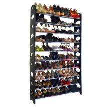 10-soros cipőpolc, műanyag+fém, szürke/fekete, BOTIS 4 TÍPUS