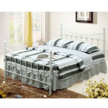 Fém ágy lécezett ráccsal, fém (fehér), 140x200, NIEVES