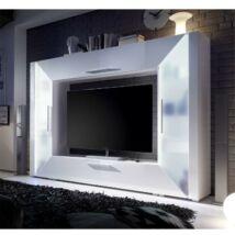 Luxus TV és média fal, DTD laminált,MDF extra magas fényű HG, fehér,     ADGE
