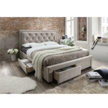 Ágy ágyráccsal, 180x200, szürkésbarna szövet, OREA CF8622D