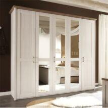 5 ajtós szekrény tükörrel, mandulafenyő fehér/sonoma tölgy trufla,    LUMERA