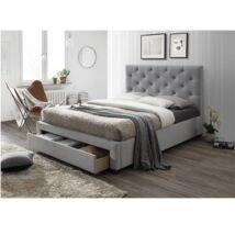 SANTOLA luxus modern ágy lécezett ágyráccsal ellátva , nagy steppelt     fejtámlával , szövet/fa , szürke , 160x200cm