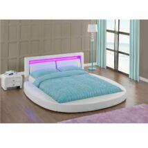Luxus modern ágy lécezett ráccsal, fehér bőr, 180x200, BLESS