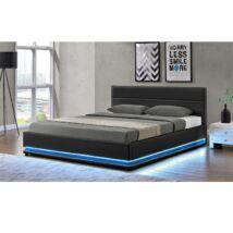 Luxus modern ágy lécezett ráccsal, fekete bőr, 160x200, BIRGET