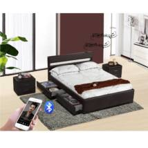 Luxus modern ágy laminált ráccsal, RGB LED világítással, BLEUTOOTH     hangszóróval , fekete ekobőr 160x200cm FABALA