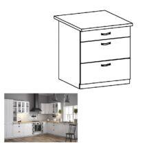 PROVANCE D80S3 konyhai alsó szekrény három fiókkal, fenyő     ANDERSEN/fehér