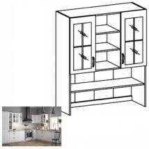 PROVANCE K120 konyhai felső szekrény két üveg ajtóval, fenyő     ANDERSEN/fehér