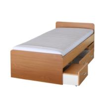 Ágy ágyneműtartóval, bükkfa, 90x200 cm, DUET 80262