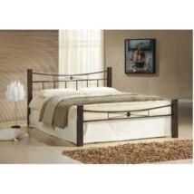 Fém ágy lécezett ráccsal, fém (fekete) + diófa, 160x200, PAULA