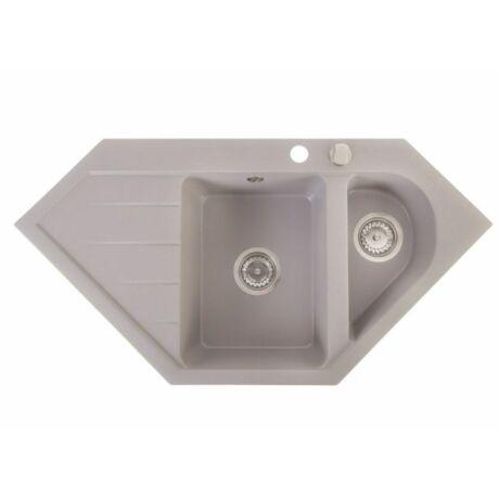 Sarok-egymedencés, csepptálcás beépíthető gránit mosogatótálca