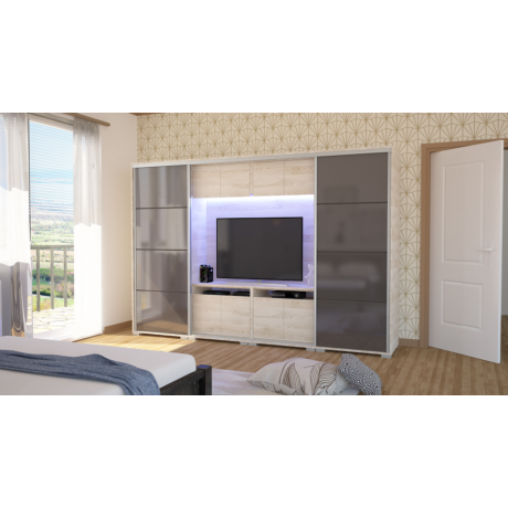 Bond tolóajtós TV-s magasfényű gardrób 318 cm