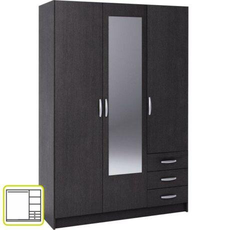 3-ajtós szekrény 3 fiókkal és tükörrel, ebony, SLOT 400824