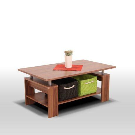 Dohányzóasztal, világos dió + fém (ezüst), ROKO