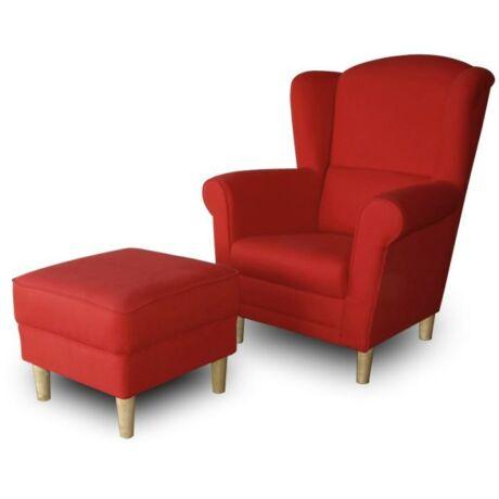 Fotel + puff,piros, ASTRID