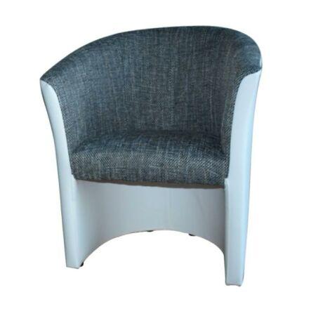 Fotel, textilbőr fehér/šenil szürke, CUBA