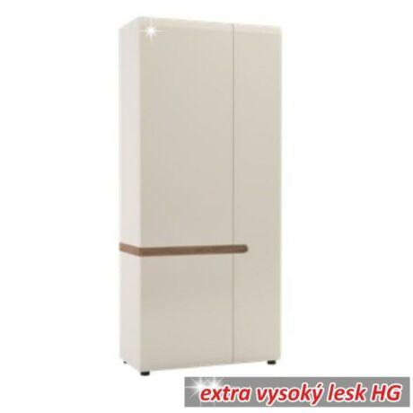 Akasztós szekrény, fehér - extra magas fényű HG/trufla sonoma tölgyfa,    LYNATET 20 TÍPUS