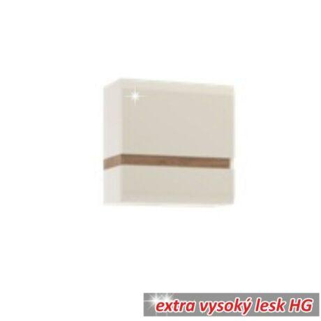 Faliszekrény, fehér - extra magas fényű HG/trufla sonoma tölgyfa,     LYNATET 66 TÍPUS