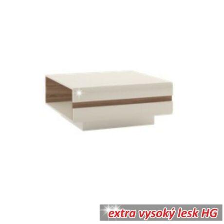 Asztal, fehér - extra magas fényű HG/trufla sonoma tölgyfa, LYNATET 70    TÍPUS