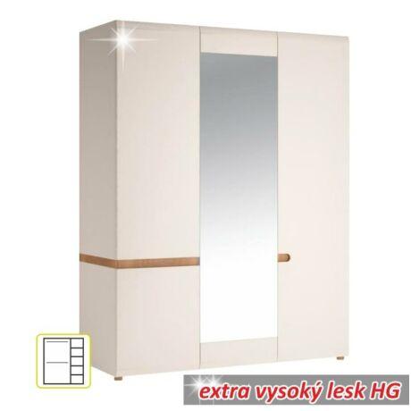 3 ajtós szekrény, fehér - extra magas fényű HG/sonoma tölgyfa, LYNATET    22 TÍPUS