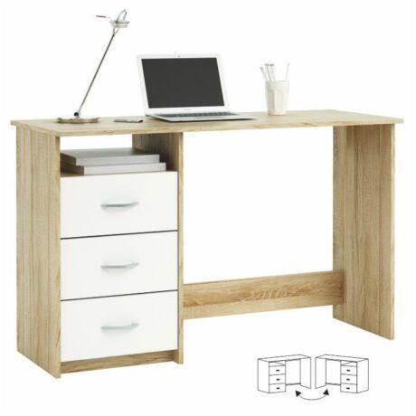 Számítógépasztal, sonoma tölgyfa/fehér, LARISTOTE 101000