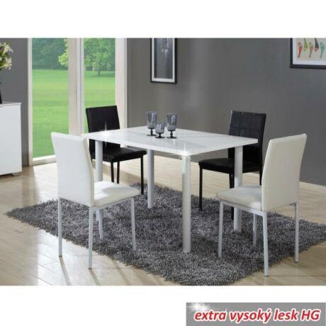 Étkezőasztal, fehér extra magas fényű HG, UNITA