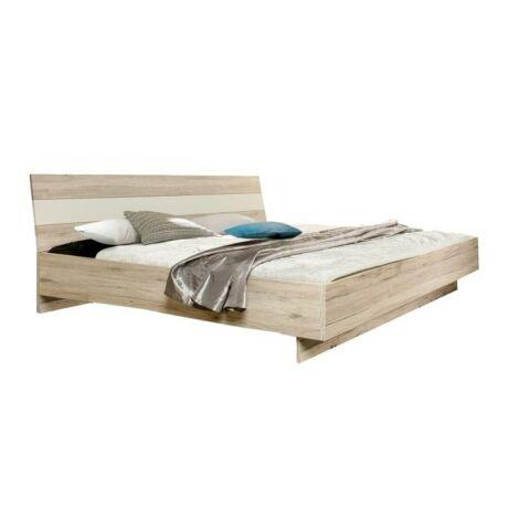 Ágy 180x200 cm, homok tölgyfa/fehér, VALERIA