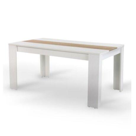 Étkezőasztal, fehér/sonoma tölgyfa, 140x80 cm, RADIM