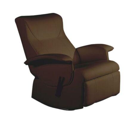 Mechanikusan állítható pihenő fotel,sötétbarna textilbőr PU, ROMELO     C3