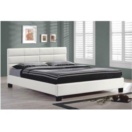 Ágy ágyráccsal, 160x200, fehér textilbőr, MIKEL