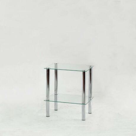 Polcok ? 2 polc, fém (króm) + világos edzett üveg, FREDDY