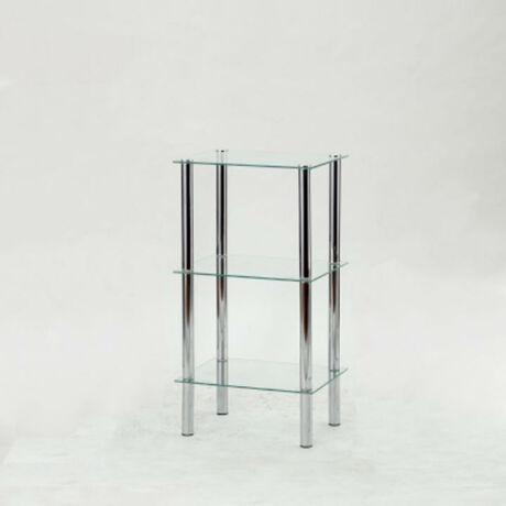 Polcok ? 3 polc, fém (króm) + világos edzett üveg, FREDDY