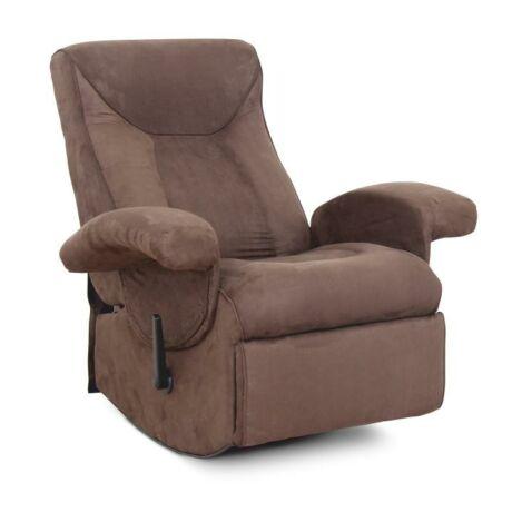 Mechanikusan állítható pihenő fotel, barna textil, SUAREZ