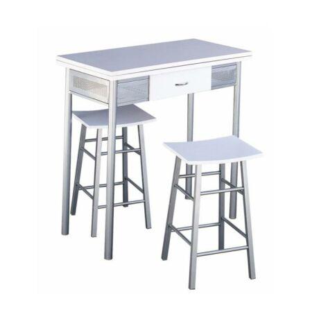 Bár szett összecsukható asztallal + 2 szék, ezüst/fehér, HOMER