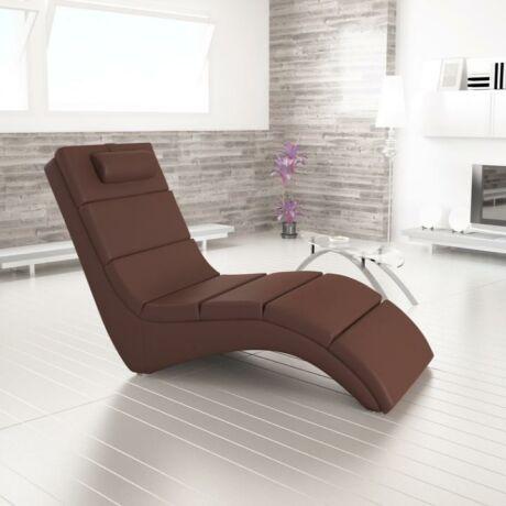 Pihenő fotel, barna textilbőr, LONG
