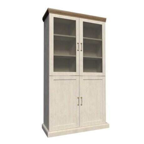 Vitrin polcokkal üveg ajtóval,északi erdei fenyő/tölgyfa, ROYAL    W4D