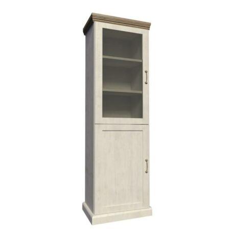 Vitrin üveg ajtóval,északi erdei fenyő/tölgyfa, ROYAL W1D