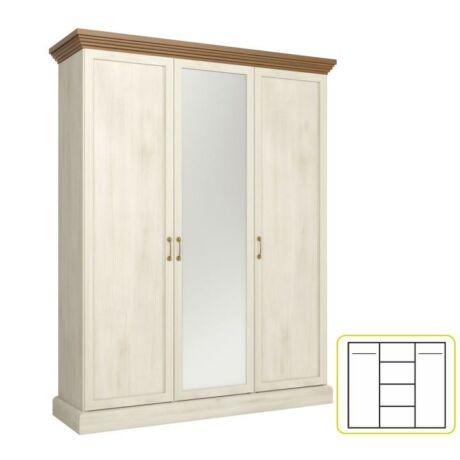 Akasztós szekrény polcokkal, tükörrel,északi erdei fenyő/tölgyfa,    ROYAL S3D