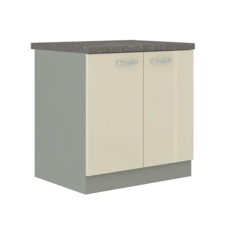 Alsó szekrény, krémszínű magas fényű fehér, PRADO 80 D 2F BB