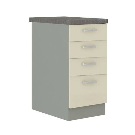 Alsó szekrény, krémszínű magas fényű fehér, PRADO 40 D 4S