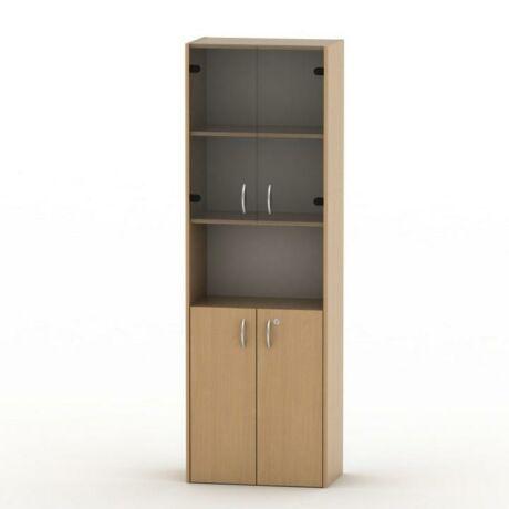 Szekrény-fent üveg + lent ajtók, bükkfa, TEMPO ASISTENT NEW 004