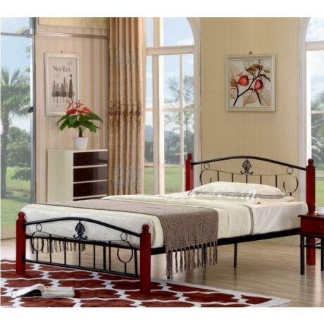 Fém ágy lécezett ráccsal, fém (fekete) +fa, 140x200, MAGENTA