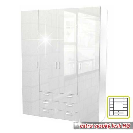 4-ajtós szekrény, fehér extra magas fényű HG, GWEN 70429