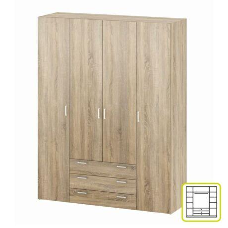 4-ajtós szekrény, sonoma tölgyfa, GWEN 70429
