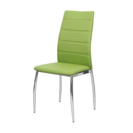 Étkező szék, króm + zöld textilbőr, DELA