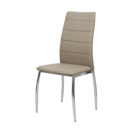 Étkező szék, króm + barna textilbőr, DELA