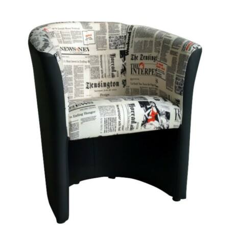 CUBA Fotel D-8, textilbőr fekete/szövet újságminta
