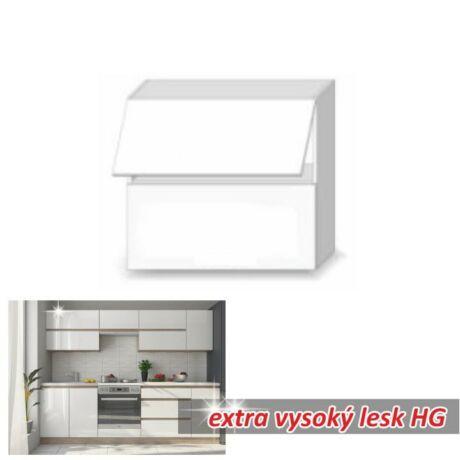 Felső szekrény 2ajtós, extra magas fényű fehér, LINE WHITE