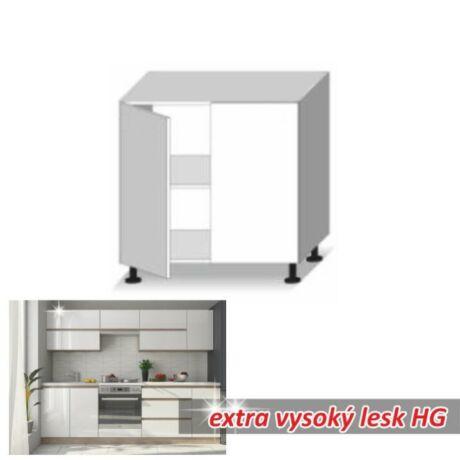 Alsó szekrény 2ajtós, magas fényű fehér, LINE WHITE